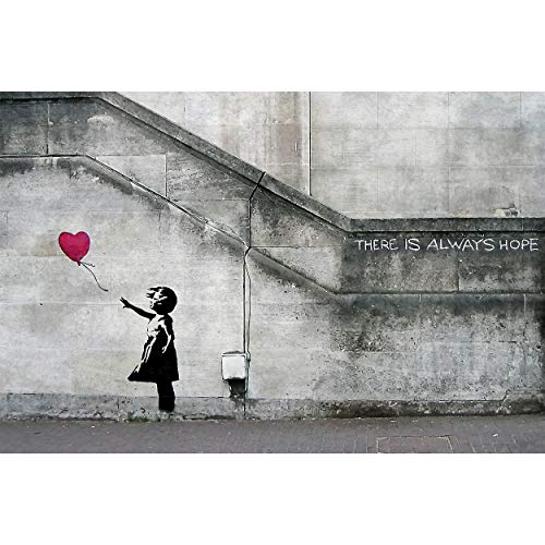 GREAT ART® XXL Poster – Banksy Art Balloon Girl – Wandbild Dekoration There is Always Hope Banksy Girl Balloon Banksi Street Style Stencil Wandposter Fotoposter Wanddeko (140 x 100 cm)