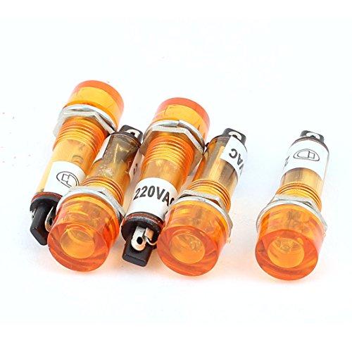 Aexit 5 Außenbeleuchtung Stk AC 220V 10 mm Montagebohrung Durchmesser Runde leuchtet Kontrollanzeige Sicherheitsbeleuchtung Meldeleuchte gelb