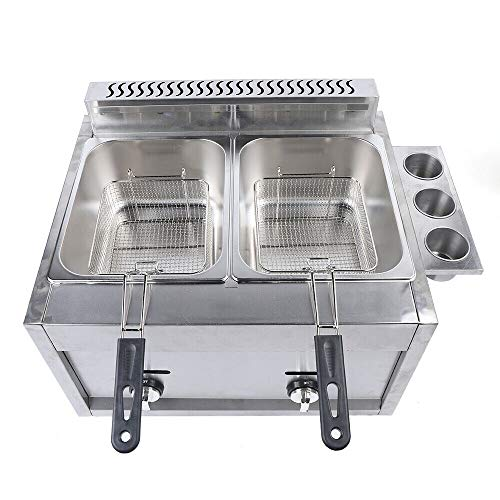 12 Liter Dual Tanks Commercial Stainless Steel Deep Fryer High Capacity Professional Gas Countertop Kitchen Frying Machine With 2 Basket for French Fry Restaurants Supermarkets Fast Food Stands