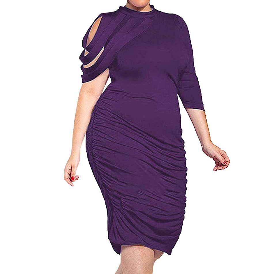 Jianekolaa_Dress Women Plus Size Half Sleeve Asymmetrical Draped Ruched Midi Dress for Cocktail Formal Evening