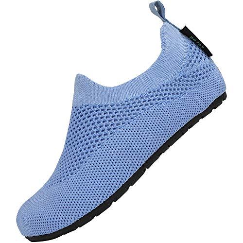 Zapatillas para Niños Antideslizante Suave Pantuflas de Niños Ligeras Cómodos Zapatos de Punto para Niña Flexible Zapatillas de Exterior Interior, Pantuflas Azul 32 33