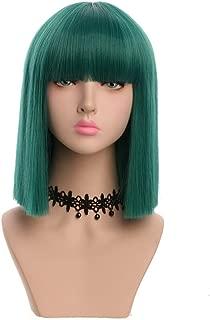 Yuehong Women's Medium Green Straight Synthetic Hair Wig Colored Short Bob Wig Fashion Wigs