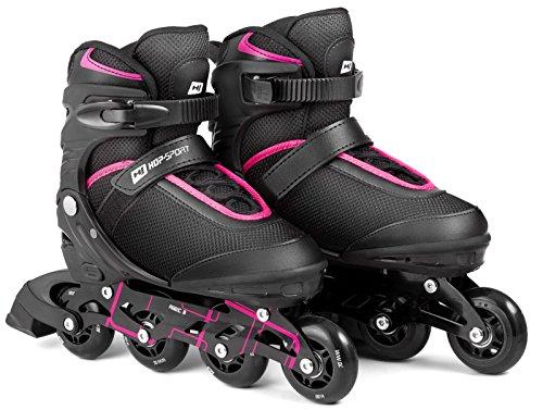 Hop-Sport 3in1 Inliner Inlineskates/Roller/Triskates für Damenr/Verstellbar/Farbe Schwarz-Pink - L 38-41