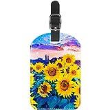 Etiquetas para equipaje con diseño de girasol, moderno impresionismo, pintura al óleo, de cuero, para maleta de viaje, 1 paquete