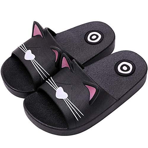 Acfoda Katze Hausschuhe Kinder Jungen Mädchen Badelatschen Kuschelig Home Pantoffeln Cartoon Schlappen Sommer Badeschuhe, 33/34 EU, Kinder Schwarz