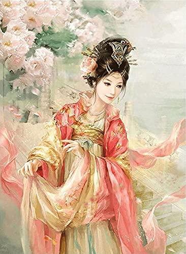 GOGOGK Juego De Pintura De Diamantes 5D DIY Disfraz De Belleza Antigua Impresionante/Elegante Chica Anime Tema Sala De Estar/Dormitorio/Decoracin De Pared Pintura Artes/Manualidades/Juguete