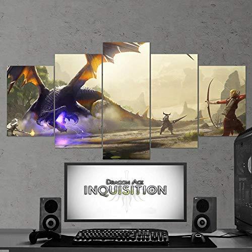 13Tdfc Cuadro En Lienzo, Imagen Impresión, Pintura Decoración, Canvas De 5 Pieza, 150X80 Cm,Dragon Age 04 Inquisition Mural Moderno Decor Hogareña