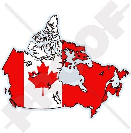 CANADA Canadien Carte-Drapeau, 138mm Vinyl Sticker, Autocollant