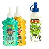 Nice Group - Slime Glue Metal, Kit 2 Colas Surtidas y 1 Activador