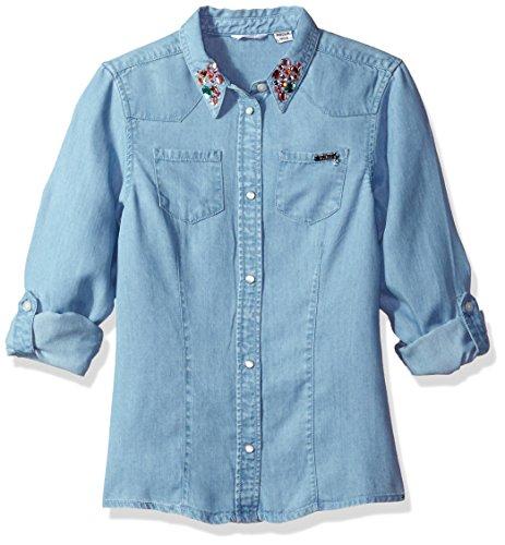 Guess Mädchen Sporthemd J73H04D2LE0, Mehrfarbig (Light Bleach Wash), 164 (Herstellergröße: 14)