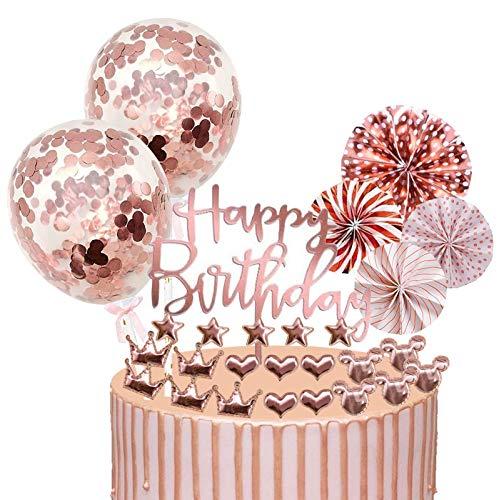 Xinmeng Rose Gold Tortendeko Cake Topper Konfetti Ballon Geburtstag Kuchen Topper Kuchendekoration Geburtstag Torte Topper Kuchen Deko für Mädchen Geburtstag mit Sternen und Papierfächer
