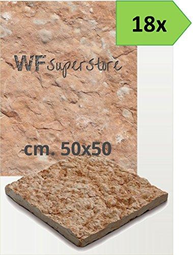 WUEFFE S.R.L. Pavimento in Pietra 50x50 Rustico - 18 Pezzi - mattonella piastrella Giardino