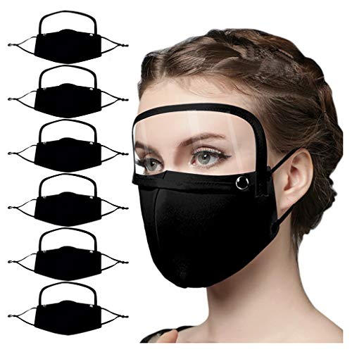 6 Pack Black Face_Mask with Detachable Eye Shield, Protective Breathable Face_Mask for Adults, Reusable Washable Cotton Facemasks for Outdoor Indoor Holiday Party Gift