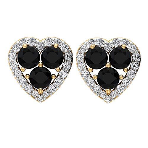 Pendientes de corazón de diamante negro antiguo de 0,39 ct, tres piedras para fiestas, 0,15 ct, certificado SGL, con halo de diamante certificado, tornillo hacia atrás