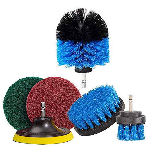Drill Brush Attachments Set, 6PCS Drill Powered Multipurpose Cleaning Brush Scrub Pads Accessories, Time Saving, Keep Tidy, Practical, for Bathroom, Kitchen, Flooring and Brick Blue