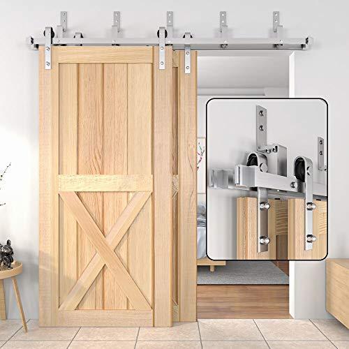 WINSOON 4FT-18FT Modern Sliding Bypass Barn Door Hardware 304 Stainless Steel Double Doors Kit Cabinet Closet System Silver (5FT Bypass Hardware Kit)
