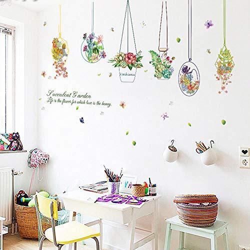 Sukkulenten Korb Malerei Wandaufkleber Home Decor Diy Kinderzimmer Abziehbilder Wohnzimmer Hintergrund Wandkunst Poster Fensteraufkleber