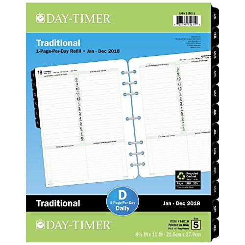 """Day-Timer Refill 2018, One Page Per Day, January 2018 - December 2018, 8-1/2"""" x 11"""", Loose Leaf, Folio Size, Classic (14010-1801)"""