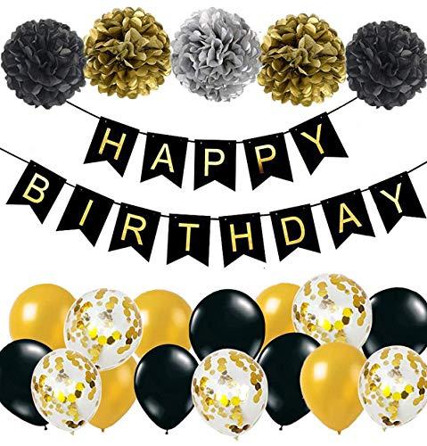 MAKFORT Geburtstagsdeko Grün Happy Birthday Girlande mit Pompoms und Luftballons Grün Konfetti Luftballons für Geburtstag Partydeko (Schwarz)