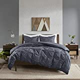 INK+IVY Masie Cotton Comforter Set-Modern Casual Elastic Embroidery Design All Season Down Alternative Cozy Bedding with Matching Shams, Full/Queen, Navy 3 Piece
