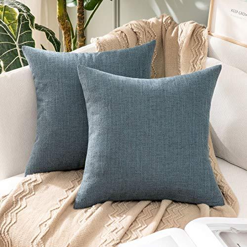 MIULEE 2 Piezas Funda de Cojines Imitación de Lino Funda de Almohada Color Sólido Cremallera Invisible para Sofá Cama Decorativas Modernas para Sillas Habitación Dormitorio 45x45cm Azul Oscuro