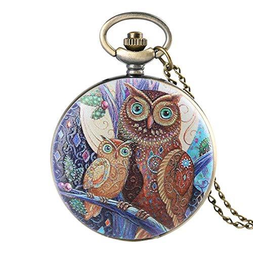 Water cup Reloj de Bolsillo Vintage Reloj de Bolsillo Vintage, Reloj de Bolsillo de Cuarzo con Cubierta de Cara de búho de Moda, Reloj Colgante de joyería, Regalo