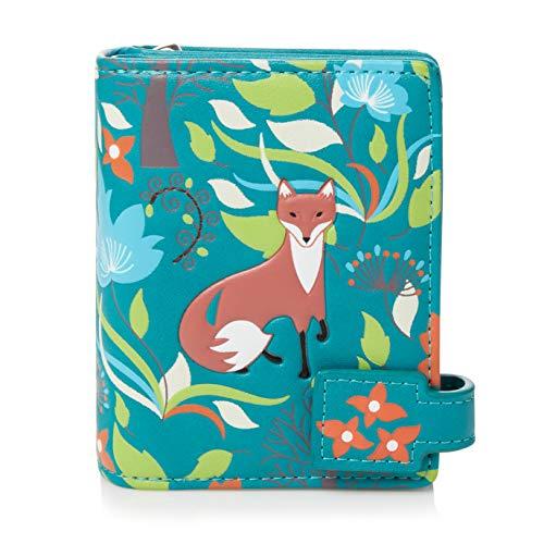 Shagwear ® Portemonnaie Geldbörse Damen Geldbeutel Mädchen | Bifold Mehrfarbig Portmonee Designs: (Füchse im Wald Petrol/Forest Foxes)