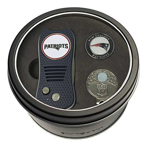 Team Golf NFL New England Patriots Gift Set Switchfix Divot Tool, Cap Clip, & 2 Double-Sided Enamel Ball Markers, Patented Design, Less Damage to Greens, Switchblade Mechanism