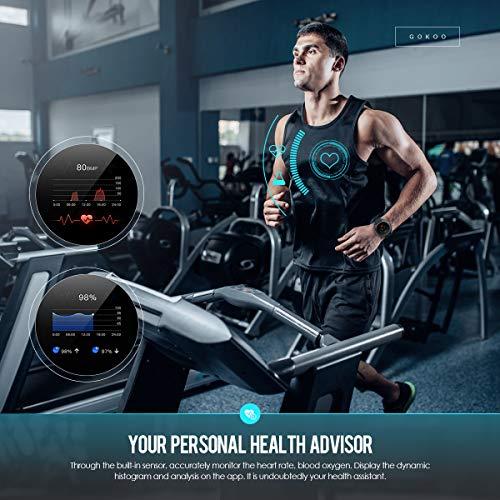GOKOO Reloj Inteligente Hombre Smartwatch Deportivo Rastreador Actividad Reloj Inteligente Pantalla Táctil Completa Entrenamiento Respiratorio IP68 Impermeable Compatible con Android iOS (Negro) miniatura
