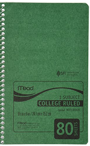 """Mead Spiral Notebook, 1 Subject, College Ruled Paper, 80 Sheets, 9-1/2"""" x 6"""", Durapress Cover, Color Selected For You (06654)"""