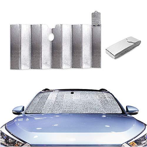 Dabeto Auto Sonnenschutz für Frontscheibe,Auto Windschutzscheibe Sonnenblende Faltbare Aluminiumfolie,Schnelle Installation ohne Zubehör,Faltbare Aufbewahrung innerhalb von DREI Sekunden,130 * 70CM