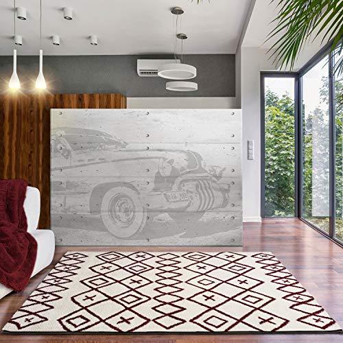 Universal Tapis Shaggy Ariana Ethnic Blanc 100 % Polyester 140 x 200 cm