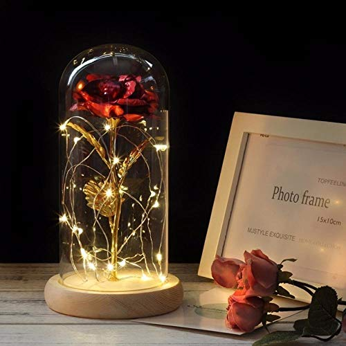 certainPL Glass Fresh Flower Preserved Fresh Flower Romantic Immortality Gold Foil Rose Rose Glass Cover NEW Year Festival Beauty