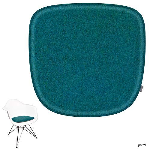 noe Eco Filz Sitzkissen geeignet für Vitra Eames Armchair - DAW,DAR,RAR,DAX,DAL,Rocker - 29 Farben - optional inkl. Antirutsch und gepolstert (Oberseite - Petrol)