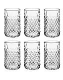 Set de 6 Vasos de Agua y Bebidas Alcohólicas, Vasos de Cristal Transparentes para Mojito, Aptos para Lavavajillas y Microondas (45cl)