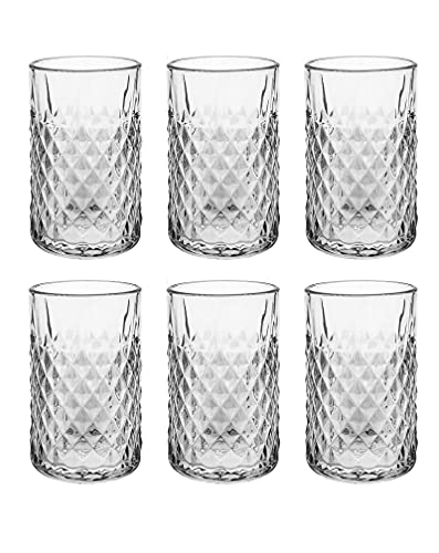 UNISHOP Set de 6 Vasos de Agua y Bebidas Alcohólicas, Vasos de Cristal Transparentes para Mojito, Aptos para Lavavajillas y Microondas