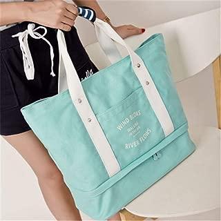 Vioaplem Fashion High Capacity Canvas Shopping Tote Bag Shoulder Travel Beach Foldable Handbag for Women (Color : Blue)