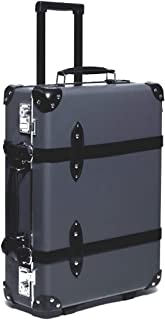 Japanese Vintage Carry-ON Genuine Leather Lightweight Durable Trunk Luggage Pasco STEAMLINE Globetrotter Suitcase, Gray