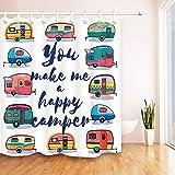 JYEJYRTEJ Retro Camper Fun Vintage Travel Trailer Caravana Cortina de baño, Lavable, Secado rápido, impresión 3D HD, 12 Ganchos, 180 * 180 cm, Accesorios de baño