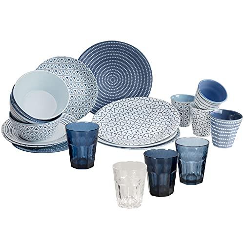 Melamin Geschirrset für 4 Personen mit Gläsern blau weiß - 20 Teile - Campinggeschirr und Glasset Trinkgläser