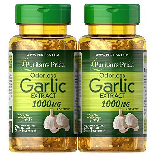 Puritan's Pride Odorless Garlic 1000 Mg, 500 Total Count (2 Pack of 250 Count Softgels), by Puritan's Pride, 500 Count