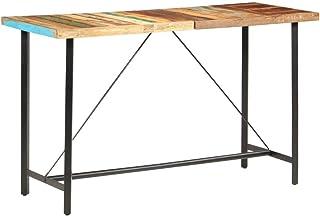 Festnight Table de Bar Haute Table de Bar Mange Debout Table de Bar 180x70x107 cm Bois de récupération Solide pour Salle à...
