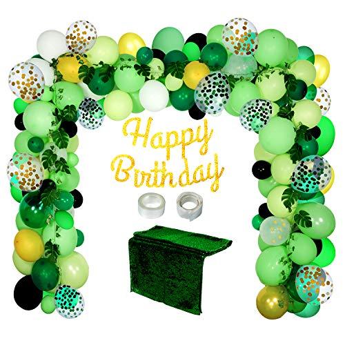 Joyjoz Decorazioni Palloncini per Feste di Compleanno, Ghirlanda ad Arco di Palloncini a Tema Giungla, Palloncini coriandoli per Feste per Battesimi, Matrimoni Lauree, anniversari (136 pz)
