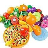 Ogquaton 24 STÜCKE Kinder Spielhaus Spielzeug Cut Obst Kunststoff Gemüse Pizza Küche Baby Kinder Spielzeug Lernspielzeug Langlebig und Nützlich