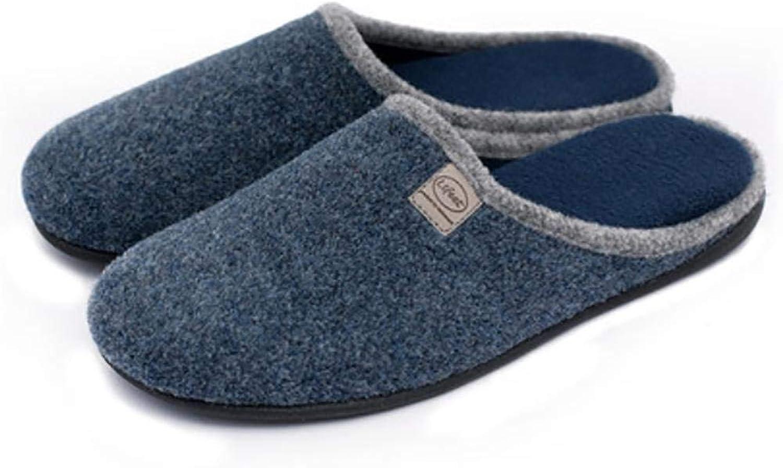 FuweiEncore Autumn Winter Men's Mute Home Woolen Cloth Slippers Baotou shoes, bluee, 39-40 (color   bluee, Size   41-42)