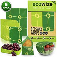 Beeswax Food Wraps - 5 Pack – 1S, 3M, 1L – Reusable Beeswax Wrap - Zero Waste - Bees Wrap Reusable Food Wrap - Eco…