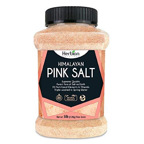 Herbion Naturals Himalayan Pink Salt 5 lb. (2.2 Kg) Jar - Fine Grain – GMO Free – Supreme Quality - Chemical Free - Vegan - Kosher Certified – Fine Grain All-Natural Salt.