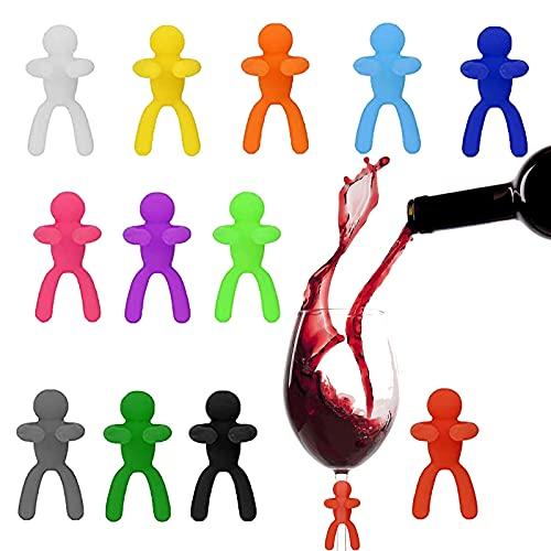Marcatori per bicchieri da vino, in silicone, per feste, divertenti, bicchieri da vino, con 12 marcatori in vetro, per identificare le bevande alla festa