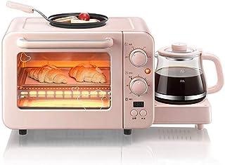 L.TSA Mini Horno eléctrico de Cocina con Placa de cocción Doble, Mini Horno con Parrilla y Placas calefactoras, Bandeja de Horno eléctrica para Horno Mini, máquina de Desayuno multifunción 3 en 1,