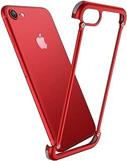 Seabaras iPhone 8 Plus Case Bumper Ultra Thin No Back Full-Body Frame Cover Protectors Bumper Case Aluminium Metal for iPhone 8 Plus (Red)